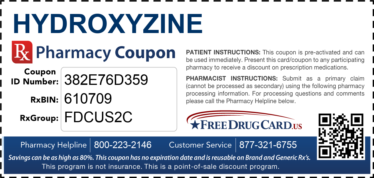Discount Hydroxyzine Pharmacy Drug Coupon