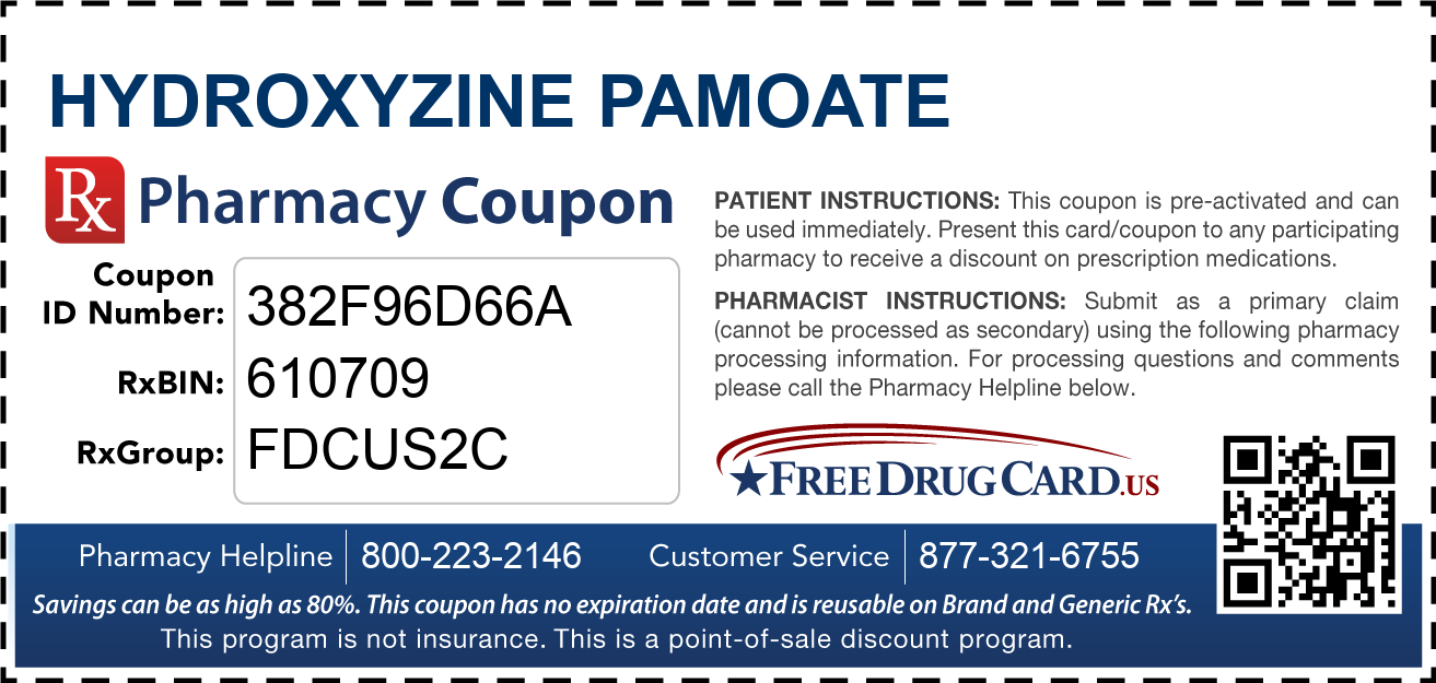 Discount Hydroxyzine Pamoate Pharmacy Drug Coupon