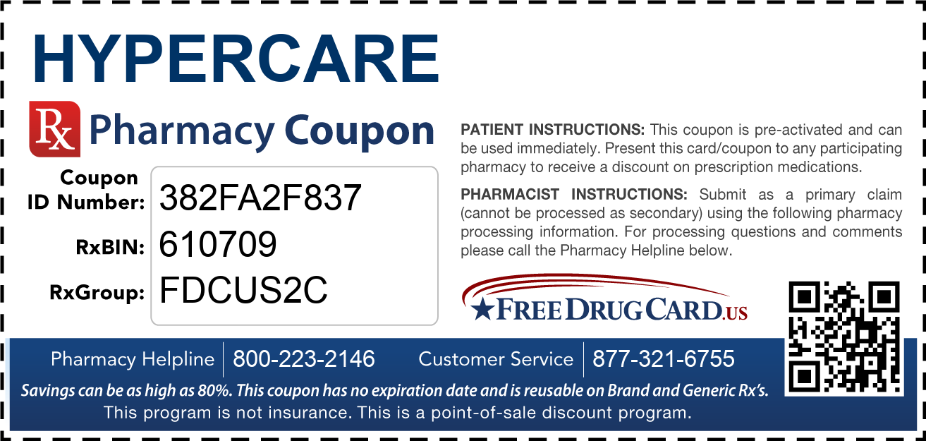 Discount Hypercare Pharmacy Drug Coupon