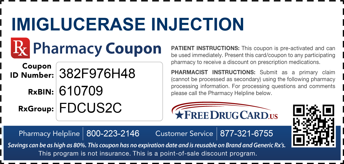 Discount Imiglucerase Injection Pharmacy Drug Coupon
