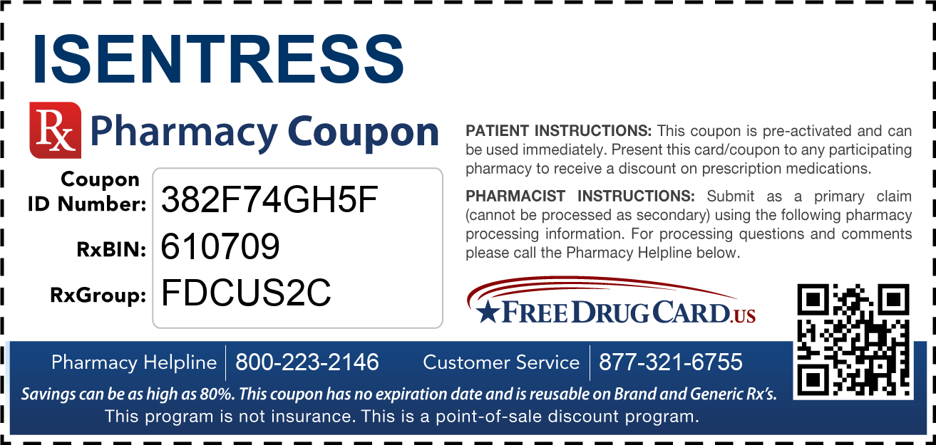 Discount Isentress Pharmacy Drug Coupon