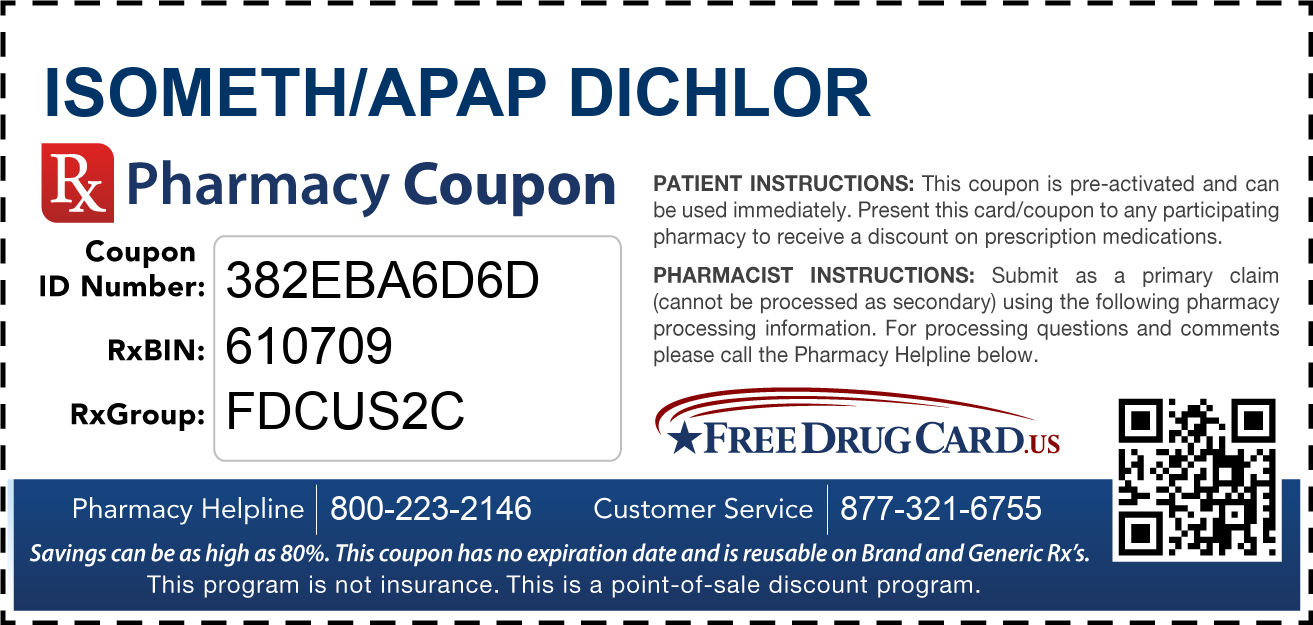 Discount Isometh/APAP Dichlor Pharmacy Drug Coupon