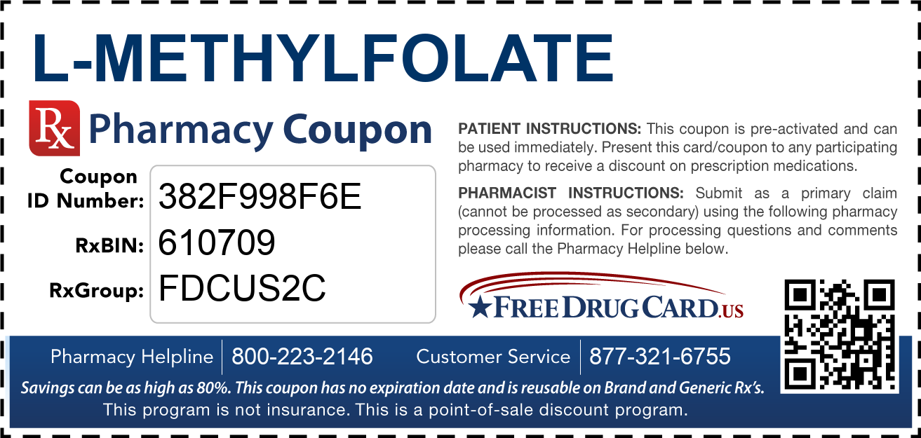 Discount L-Methylfolate Pharmacy Drug Coupon