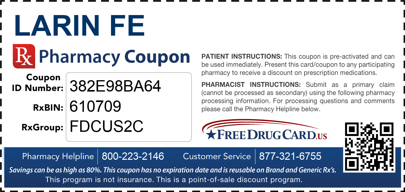 Discount Larin FE Pharmacy Drug Coupon