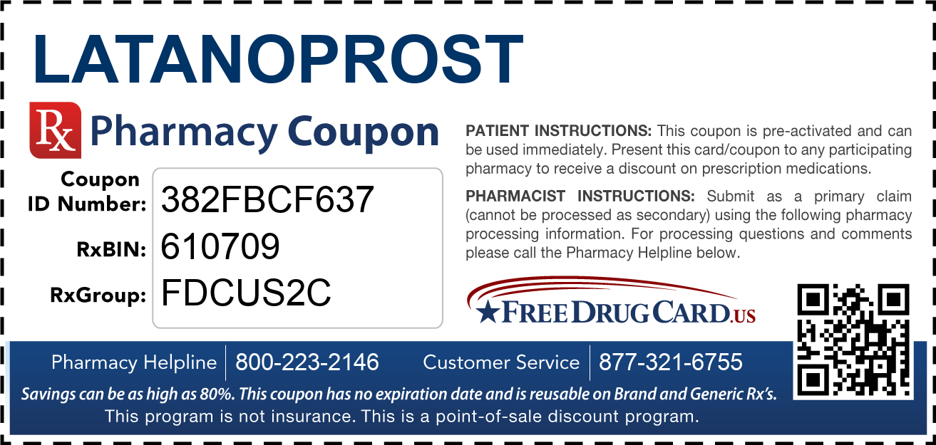 Discount Latanoprost Pharmacy Drug Coupon