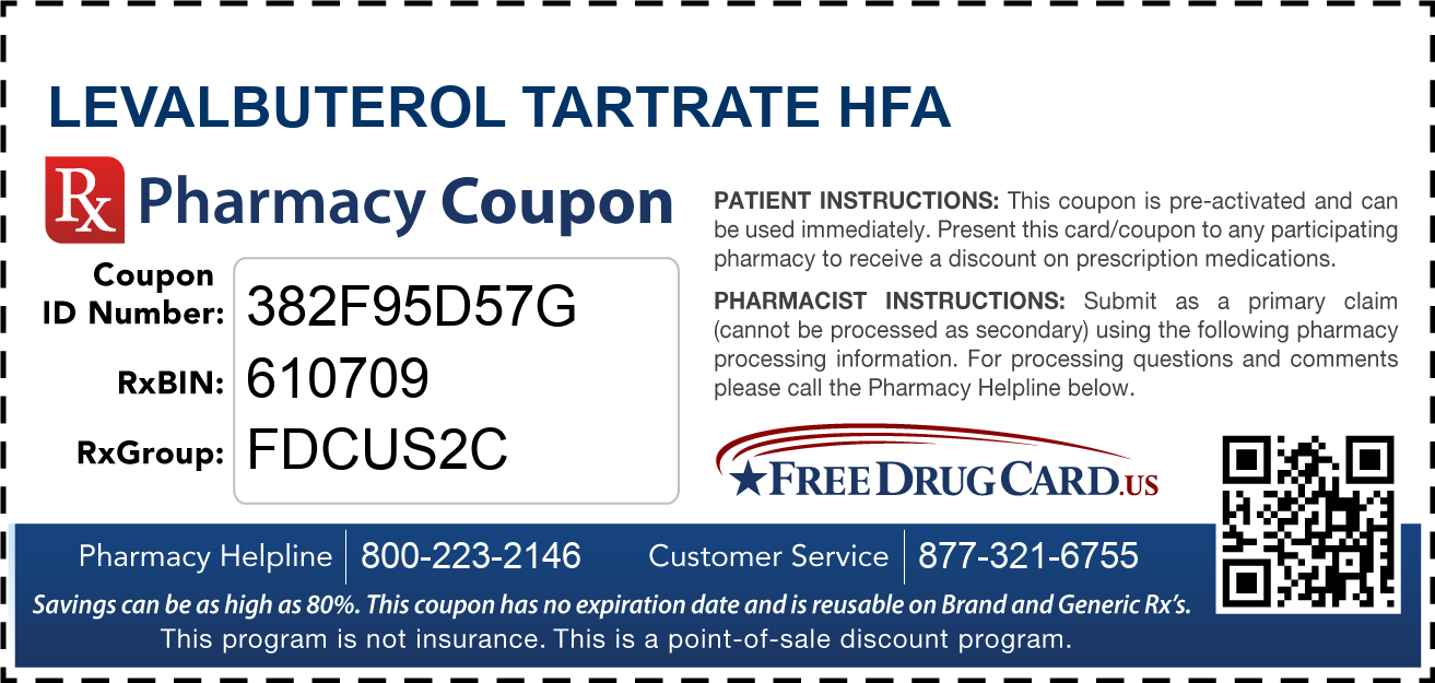 Discount Levalbuterol Tartrate HFA Pharmacy Drug Coupon