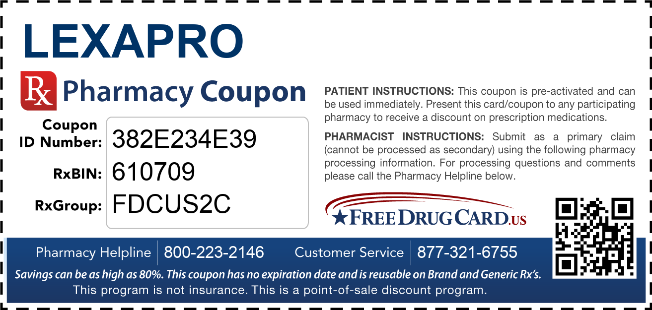 Discount Lexapro Pharmacy Drug Coupon