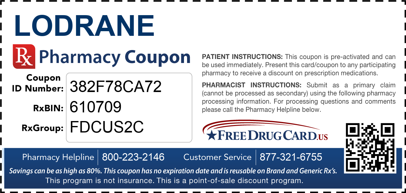 Discount Lodrane Pharmacy Drug Coupon