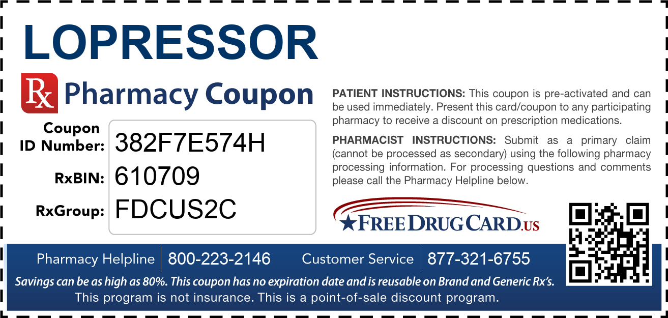 Discount Lopressor Pharmacy Drug Coupon