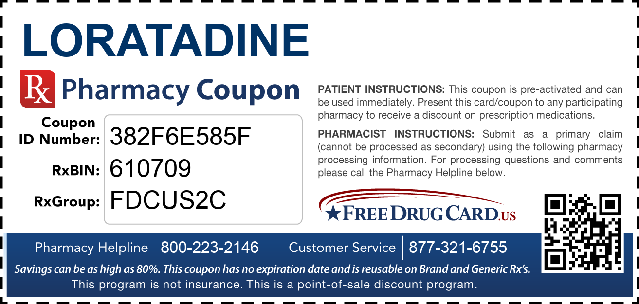 Discount Loratadine Pharmacy Drug Coupon