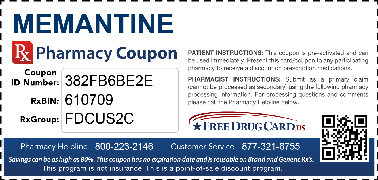 Discount Memantine Pharmacy Drug Coupon
