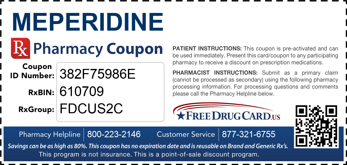 Discount Meperidine Pharmacy Drug Coupon