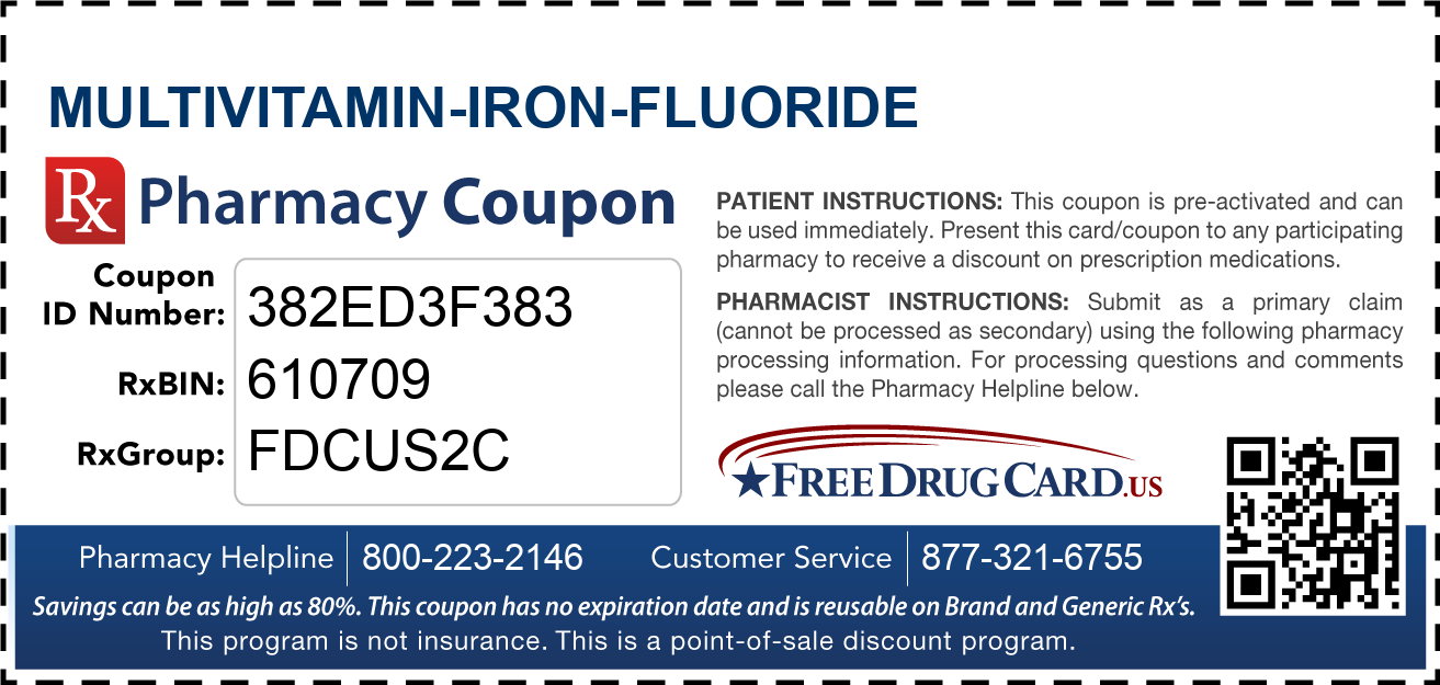 Discount Multivitamin-Iron-Fluoride Pharmacy Drug Coupon