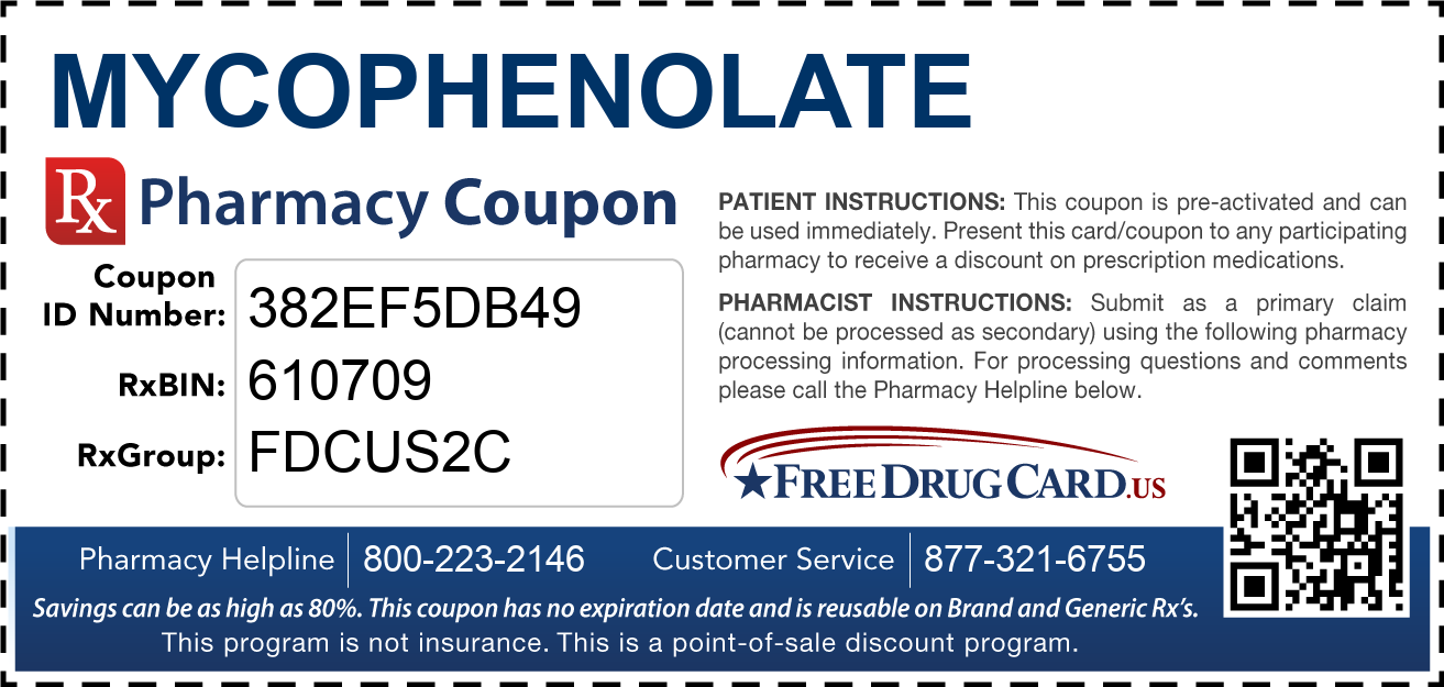 Discount Mycophenolate Pharmacy Drug Coupon