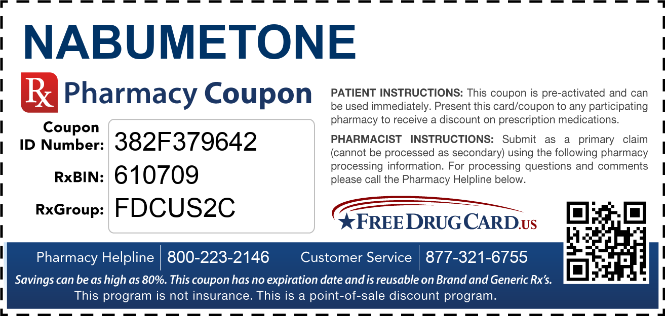 Discount Nabumetone Pharmacy Drug Coupon