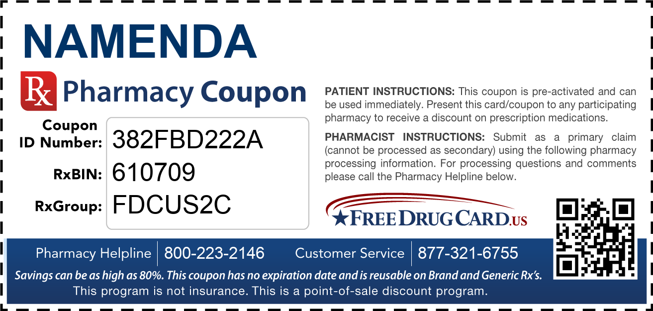 Discount Namenda Pharmacy Drug Coupon