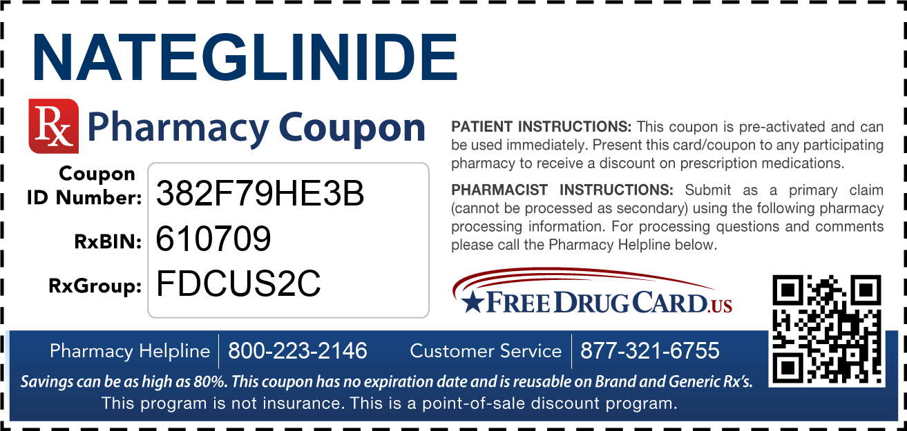 Discount Nateglinide Pharmacy Drug Coupon