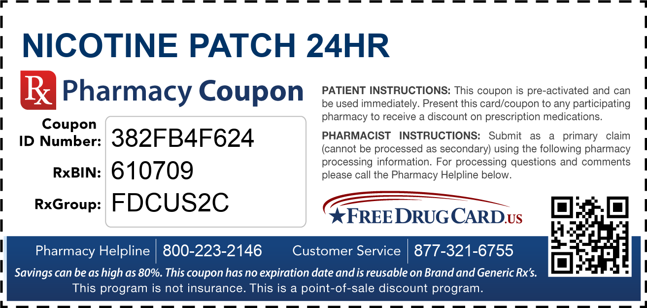 Cvs Pharmacy Coupons >> Nicotine Patch 24HR Coupon - Free Prescription Savings at Pharmacies Nationwide