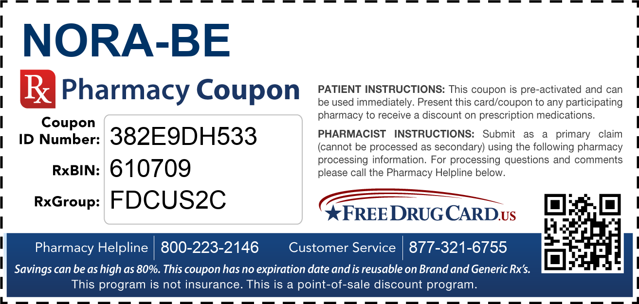 Discount Nora-BE Pharmacy Drug Coupon
