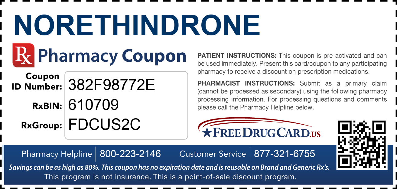 Discount Norethindrone Pharmacy Drug Coupon