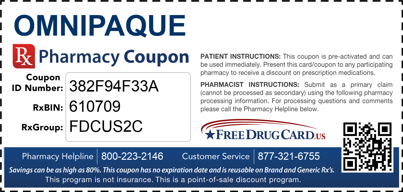 Discount Omnipaque Pharmacy Drug Coupon