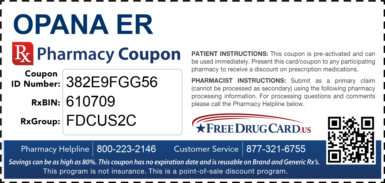 Discount Opana ER Pharmacy Drug Coupon