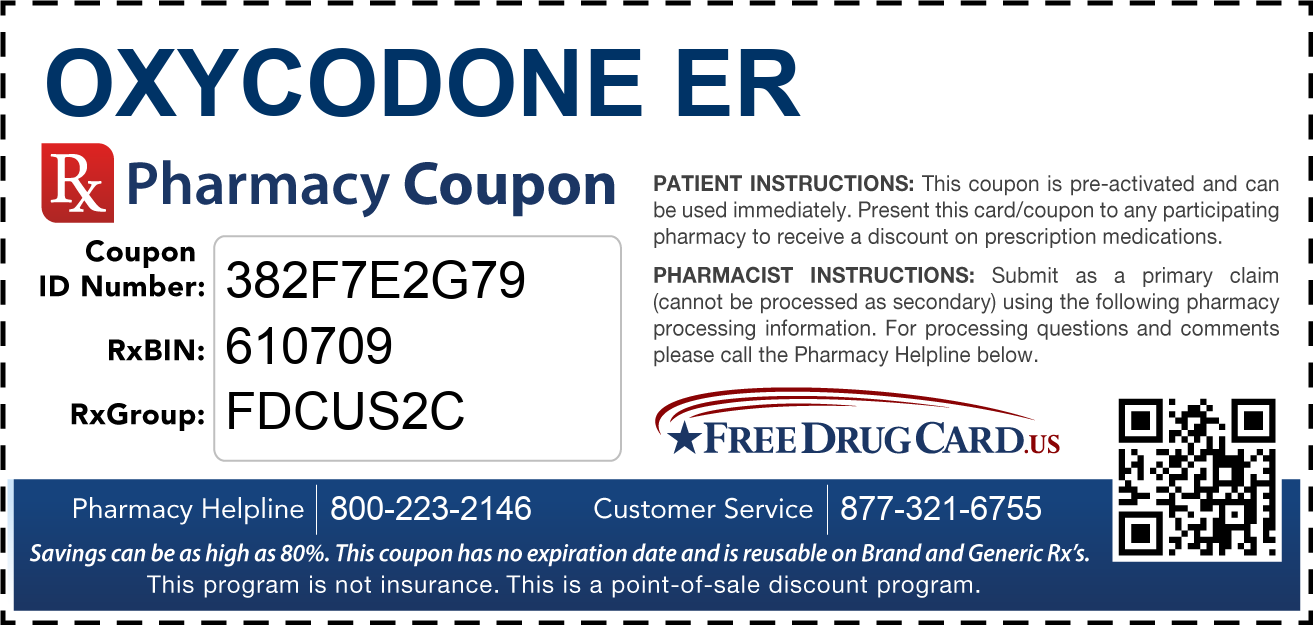 Discount Oxycodone ER Pharmacy Drug Coupon
