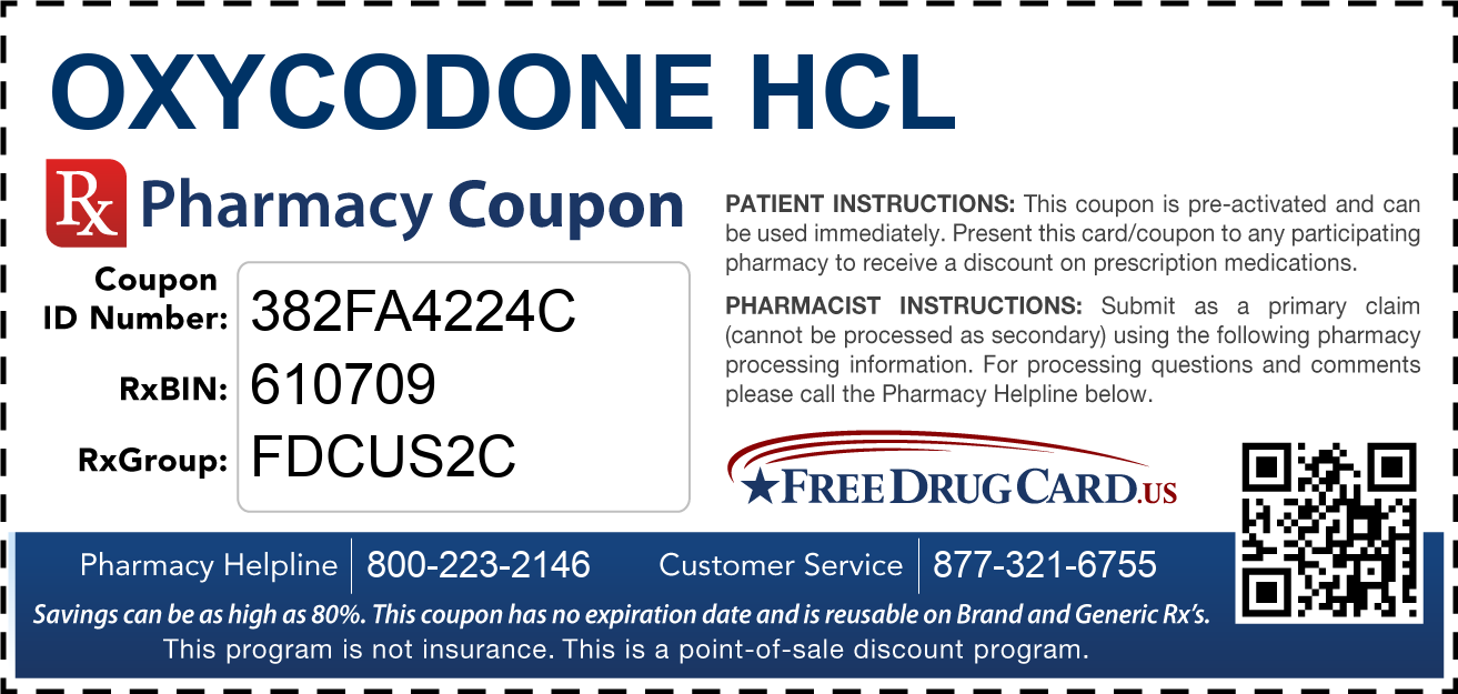 Discount Oxycodone HCL Pharmacy Drug Coupon