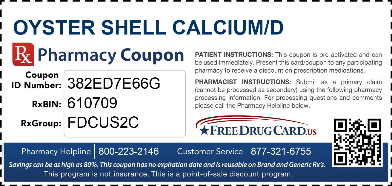 Discount Oyster Shell Calcium/D Pharmacy Drug Coupon