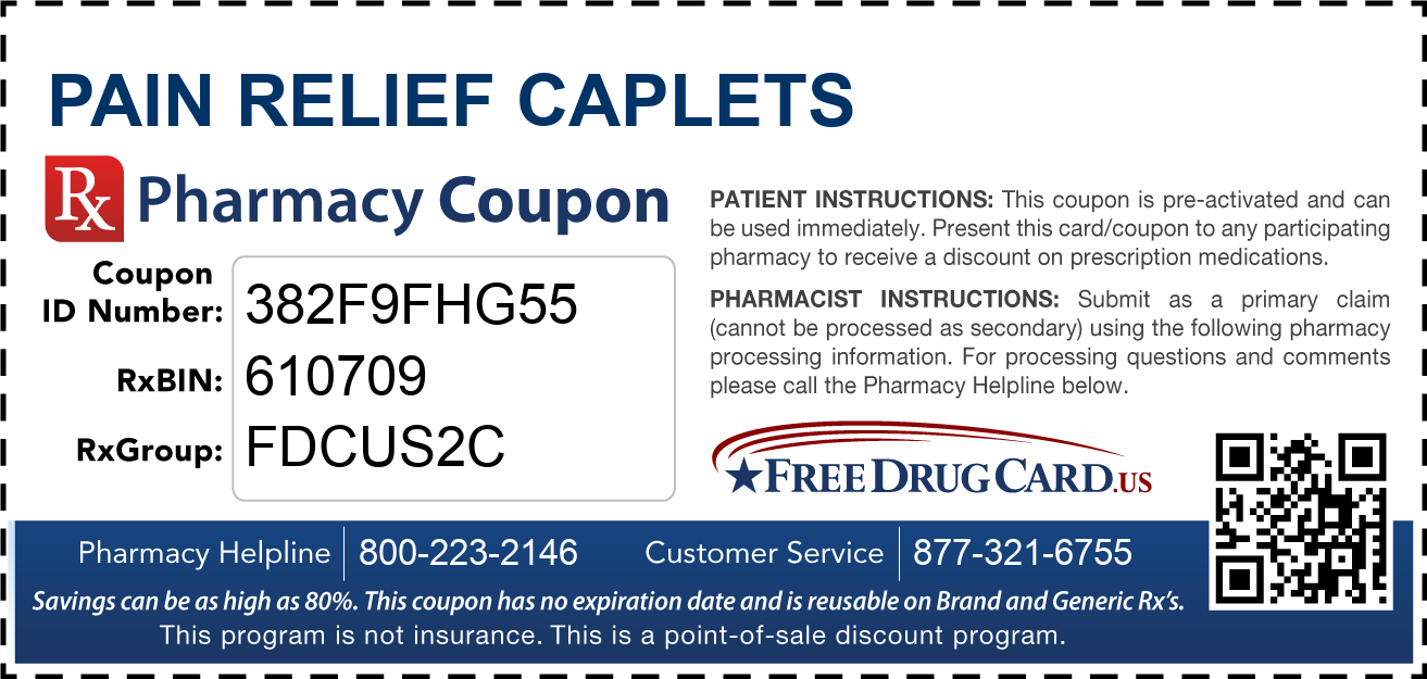 Discount Pain Relief Caplets Pharmacy Drug Coupon