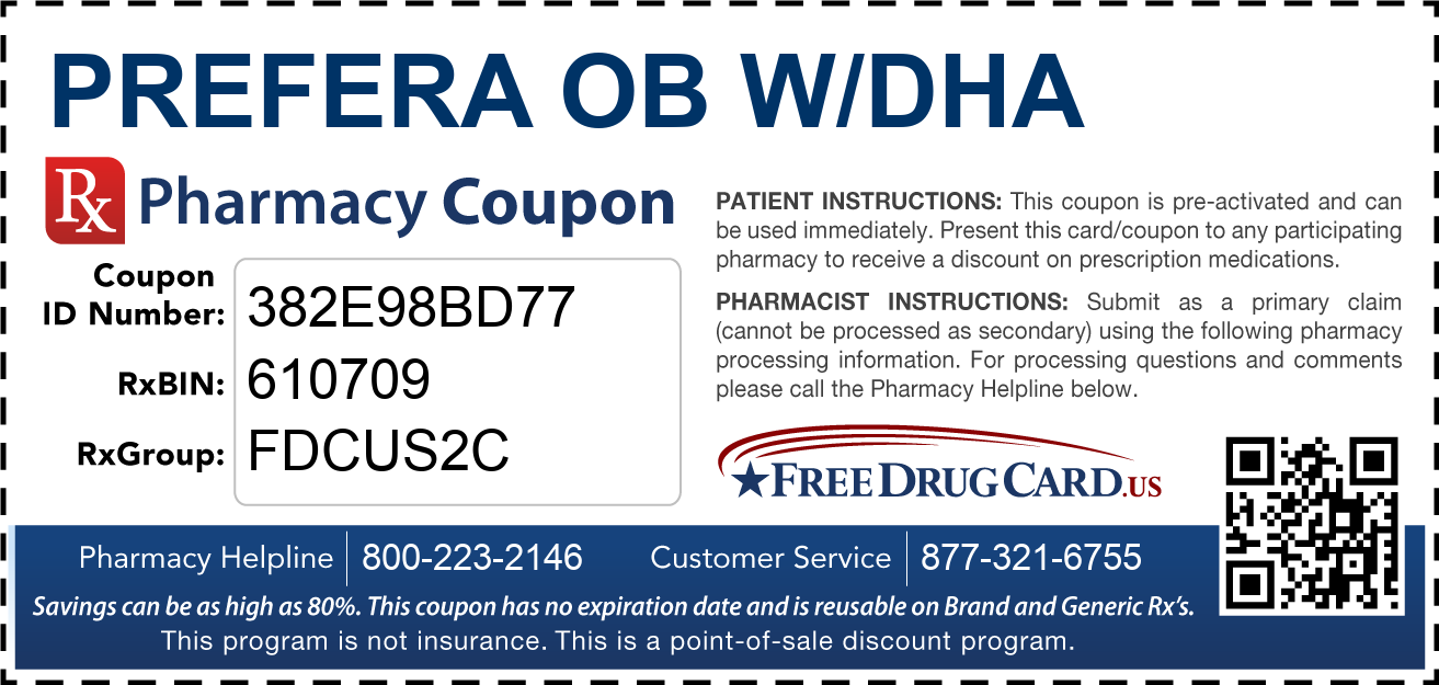 Discount Prefera OB w/DHA Pharmacy Drug Coupon