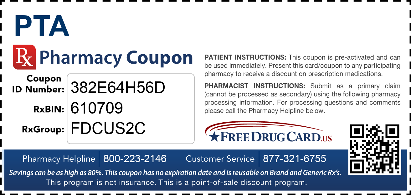 Discount PTA Pharmacy Drug Coupon