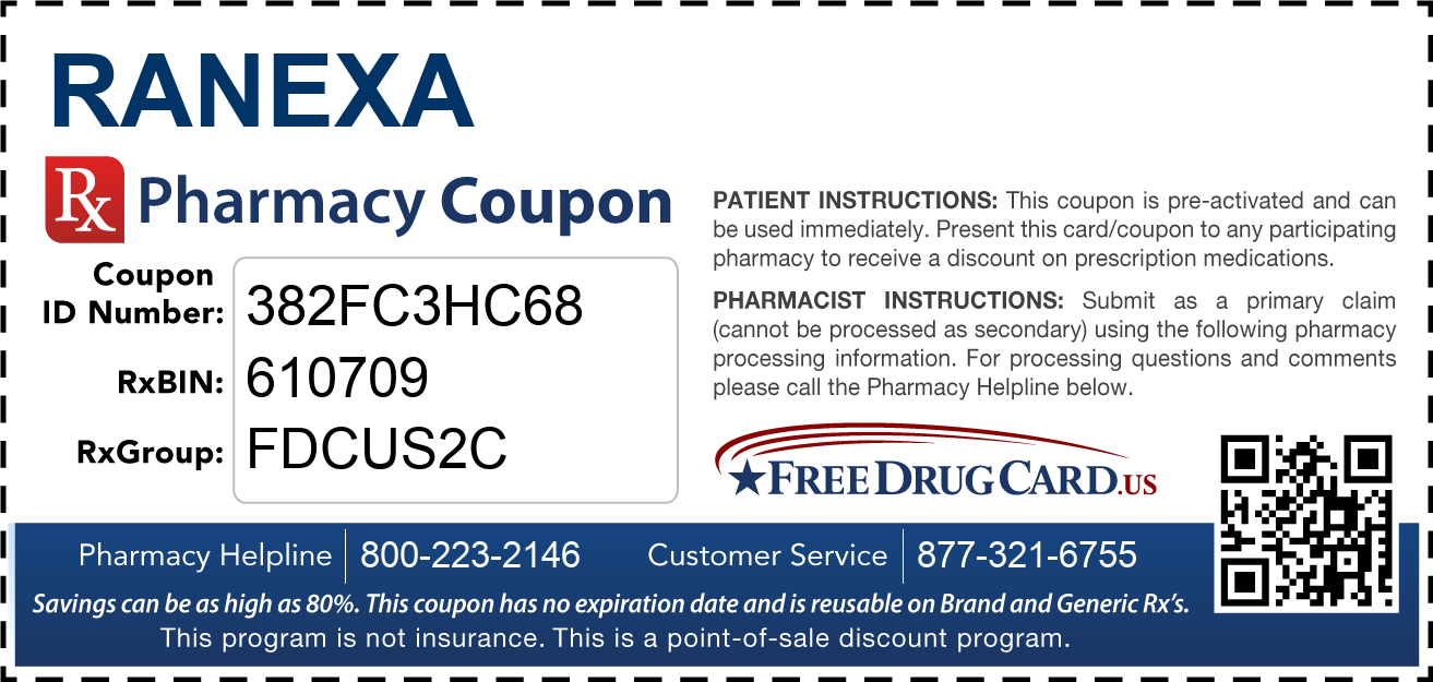 Discount Ranexa Pharmacy Drug Coupon