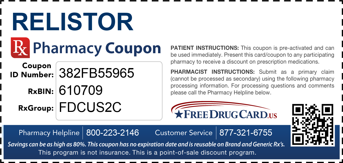 Discount Relistor Pharmacy Drug Coupon