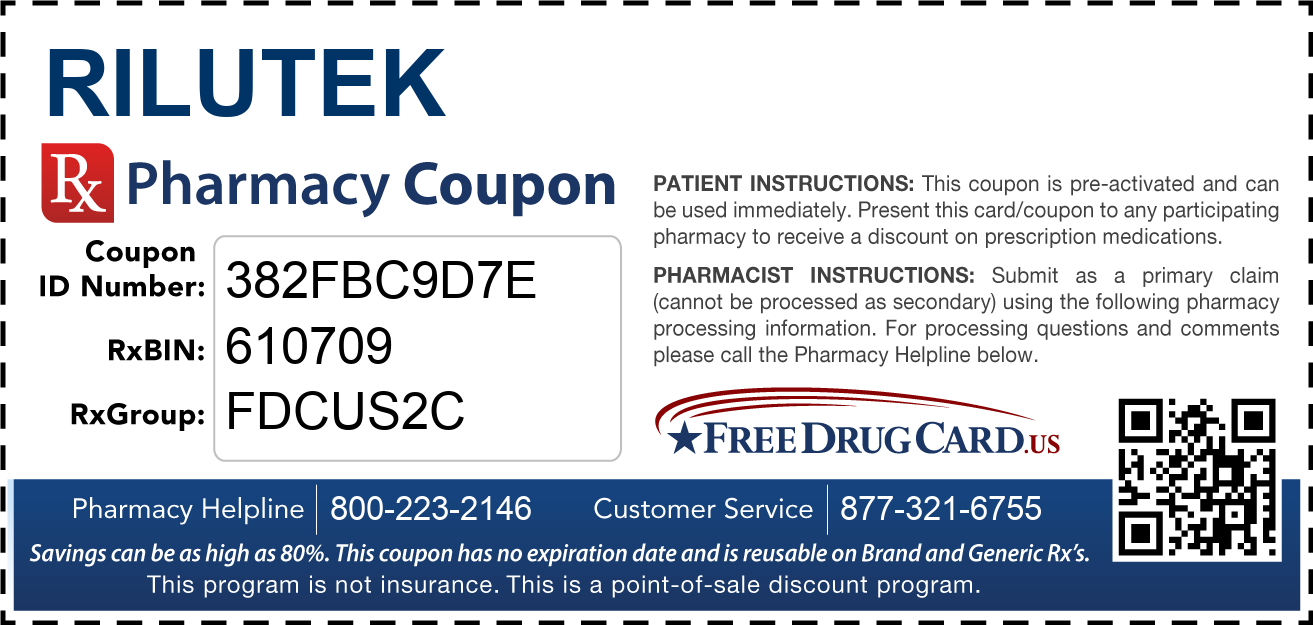 Discount Rilutek Pharmacy Drug Coupon
