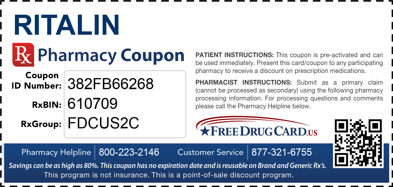 Discount Ritalin Pharmacy Drug Coupon