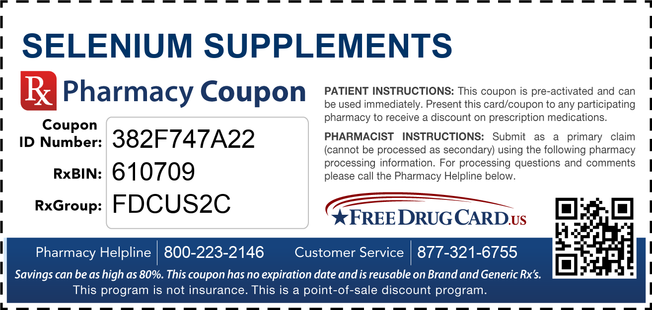 Discount Selenium Supplements Pharmacy Drug Coupon