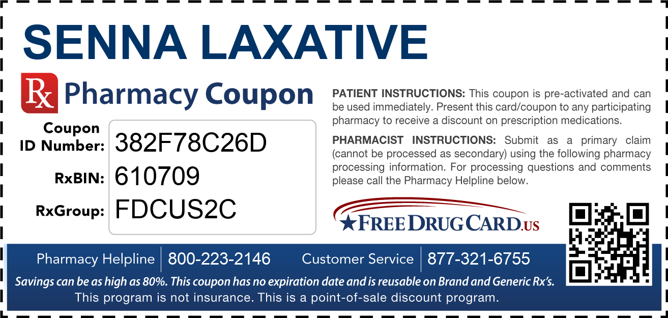 Discount Senna Laxative Pharmacy Drug Coupon