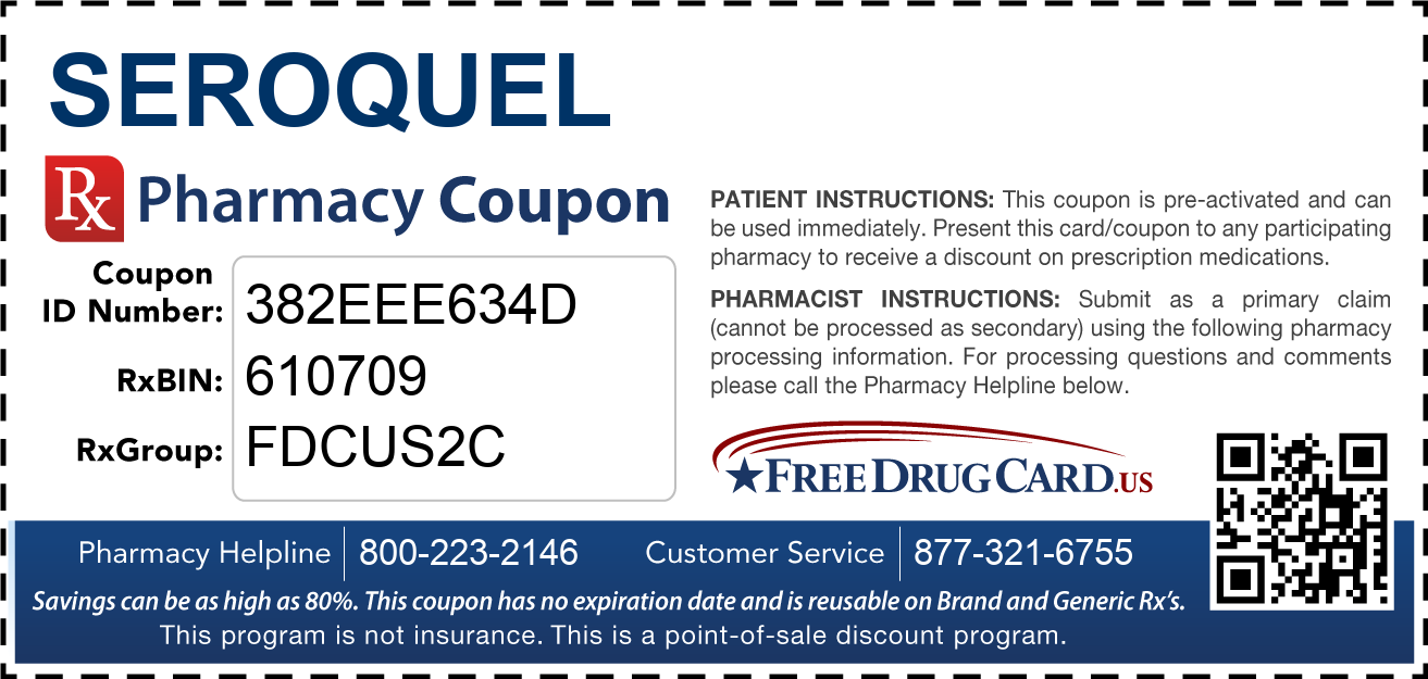 Discount Seroquel Pharmacy Drug Coupon