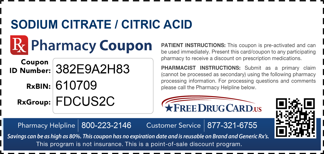 Discount Sodium Citrate / Citric Acid Pharmacy Drug Coupon