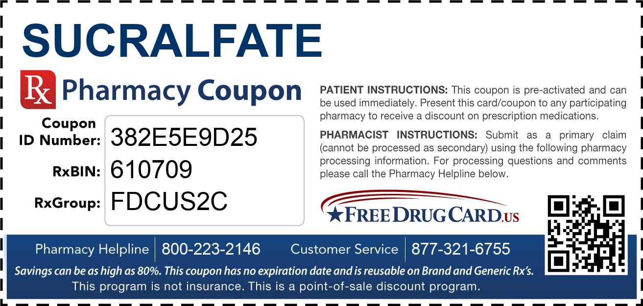 Discount Sucralfate Pharmacy Drug Coupon