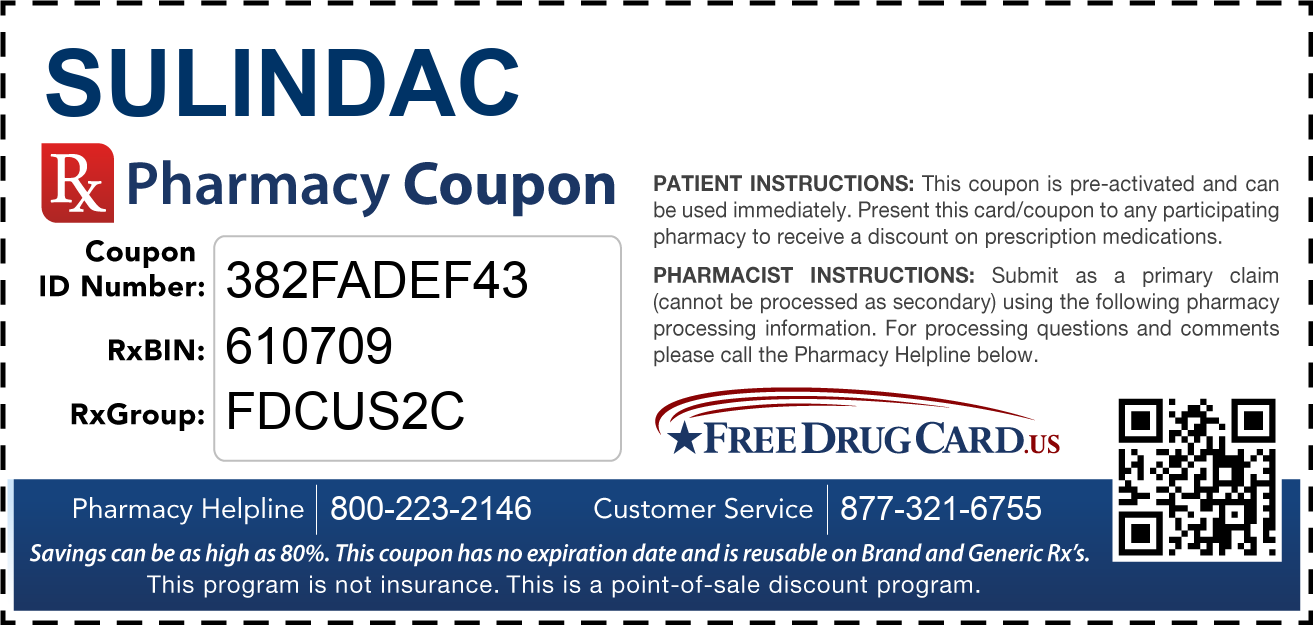 Discount Sulindac Pharmacy Drug Coupon