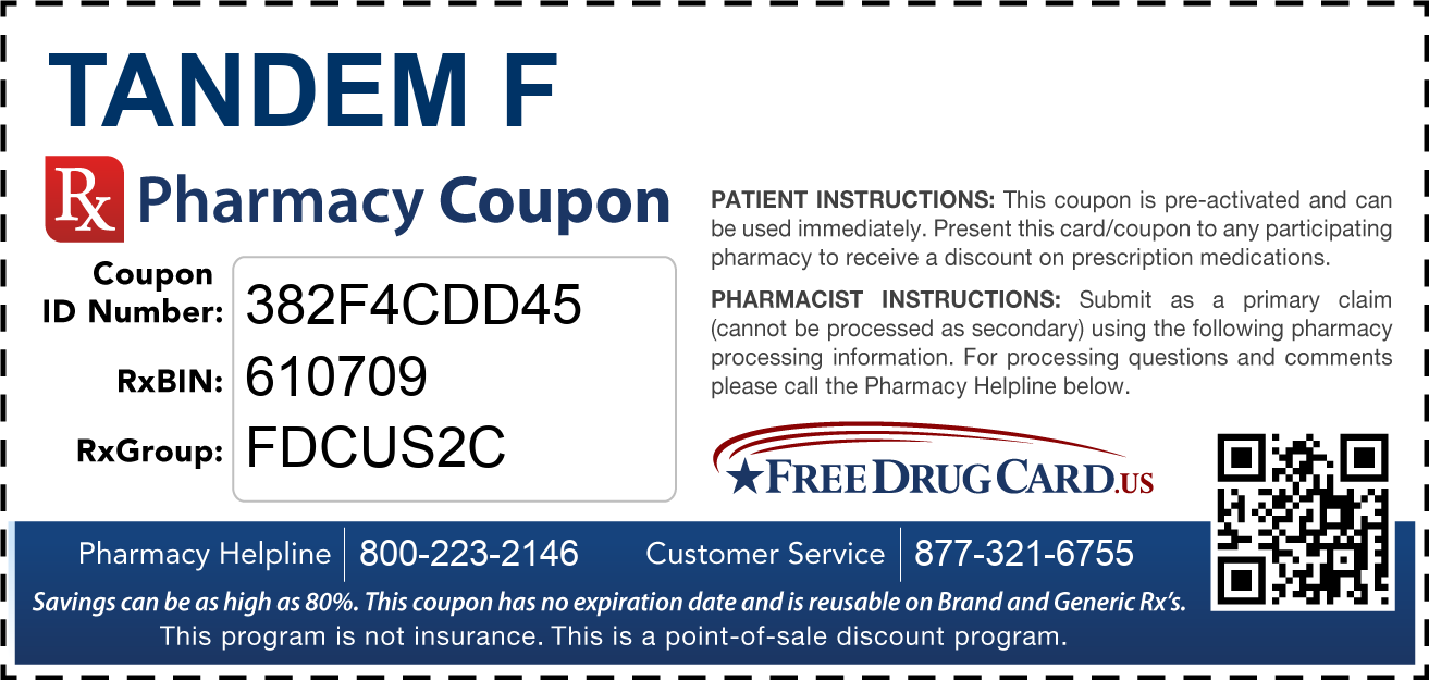 Discount Tandem F Pharmacy Drug Coupon