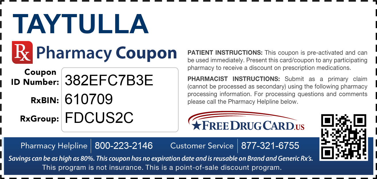 Discount Taytulla Pharmacy Drug Coupon