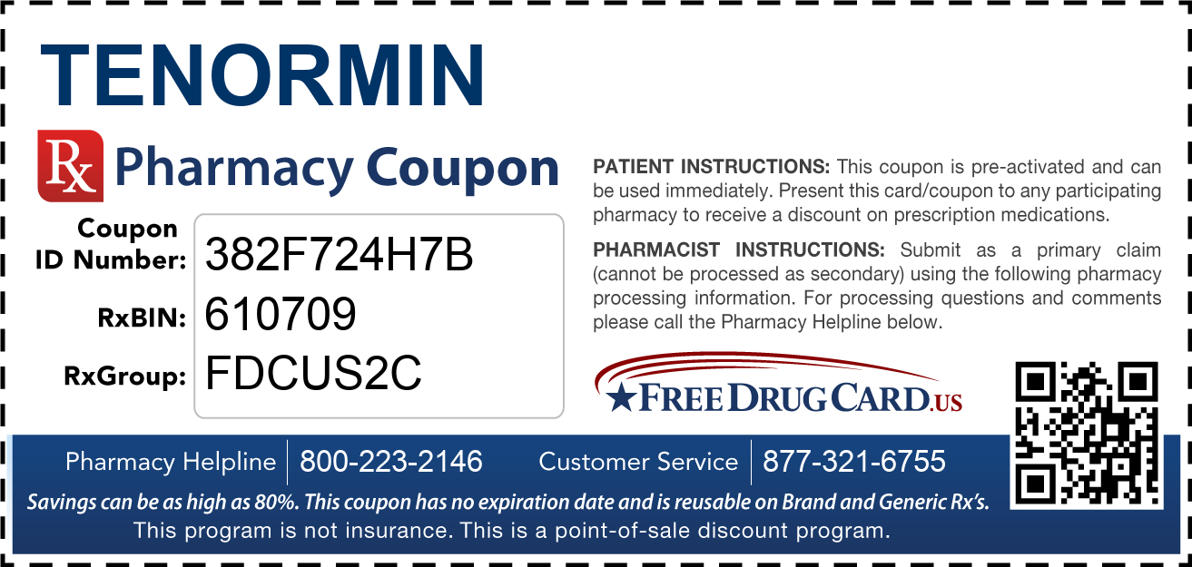 Discount Tenormin Pharmacy Drug Coupon