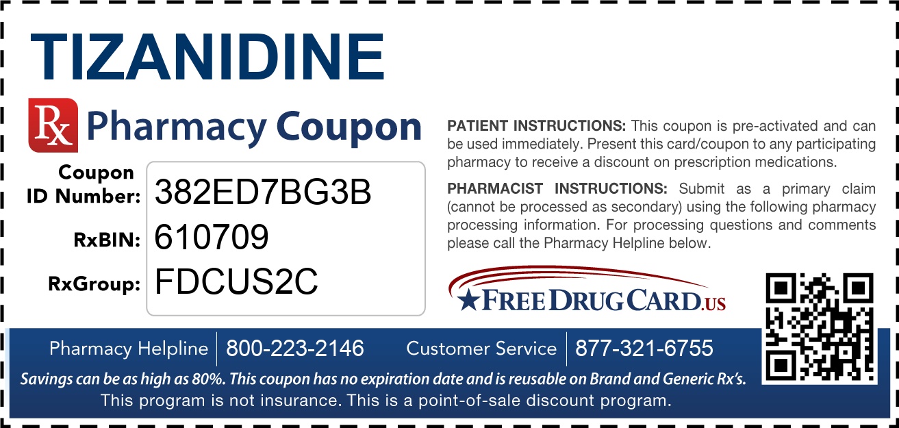 Discount Tizanidine Pharmacy Drug Coupon