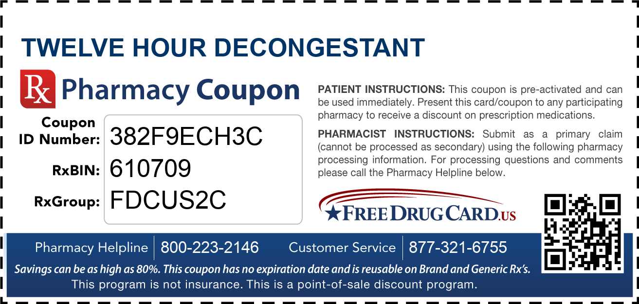 Discount Twelve Hour Decongestant Pharmacy Drug Coupon