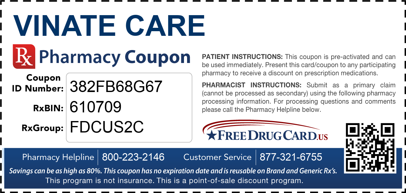 Discount Vinate Care Pharmacy Drug Coupon