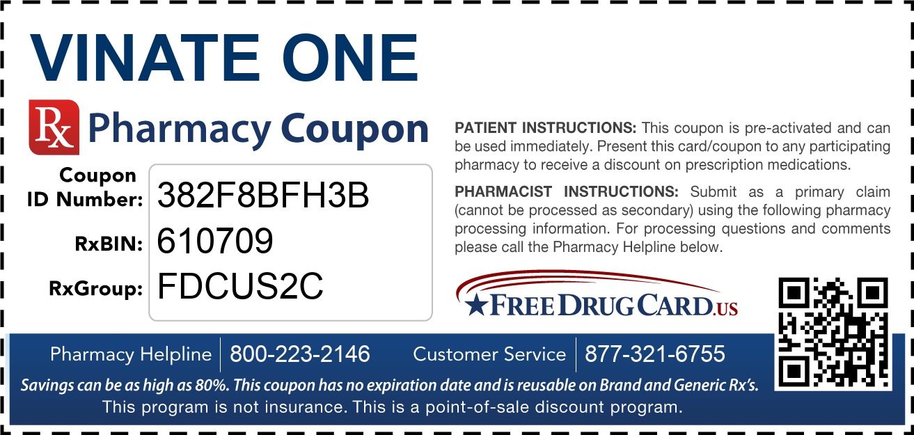 Discount Vinate ONE Pharmacy Drug Coupon
