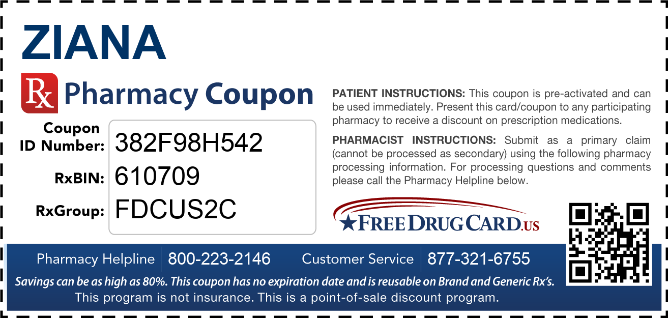 Discount Ziana Pharmacy Drug Coupon